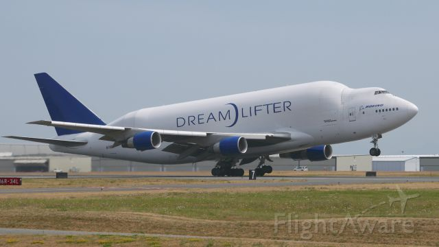 Boeing Dreamlifter (N718BA) - GTI4512 on rotation from Rwy 16R for a flight to RJGG / NGO on 7/6/15. (ln 932 / cn 27042).