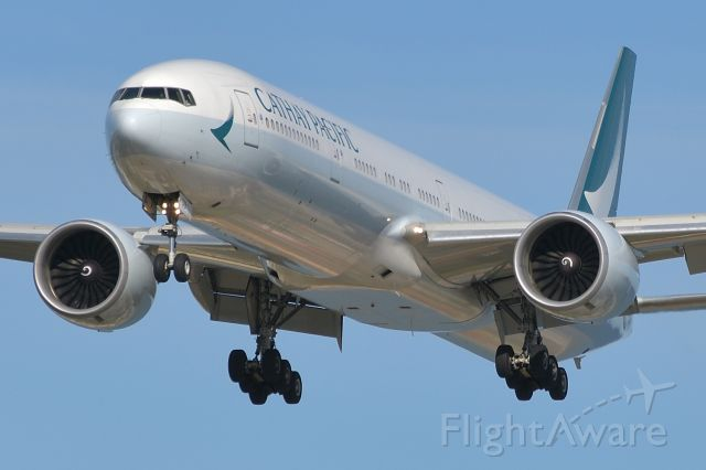 BOEING 777-300ER (B-KQB) - Adelaide, South Australia, Sunday 2 August, 2020. Cathay Pacific cargo only Flt 2174 on short final for runway 05.