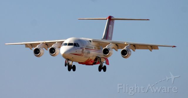 British Aerospace BAe-146-200 (N473NA) - KRDD - Tanker 01 returning from Weed, CA Boles Fire Sept 2014.<br /><br />E2045<br />Aircraft Type	British Aerospace 146-200A<br />First Flight	24. Oct 1985<br />Age	30.7 Years