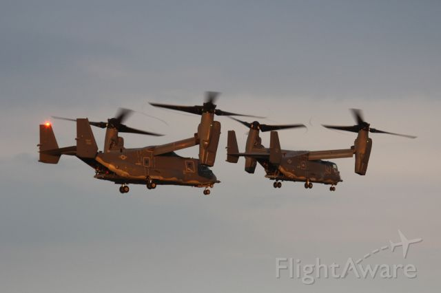 Bell V-22 Osprey — - Sunset mission.  Two CV-22 depart Mildenhall for another night training mission.