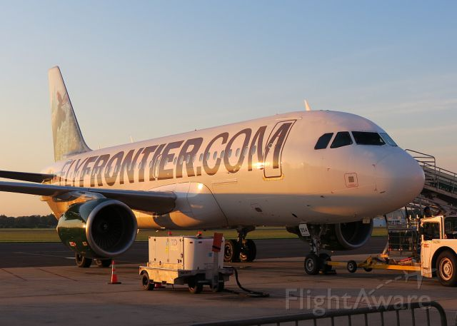 Airbus A319 (N954FR) - Mickey the Moose at Sunrise