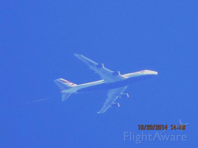 Boeing 747-400 (G-BYGE) - British Airways flight 31F from London to DFW over Southeastern Kansas at 38,000 feet.