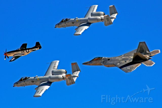 Fairchild-Republic Thunderbolt 2 — - A formation of U.S. Air Force aircraft consisting of two A-10 Thunderbolts, one F-22 Raptor, and one P-51D Mustang. Taken at Nellis Air Force Base in Nevada. November 2017.