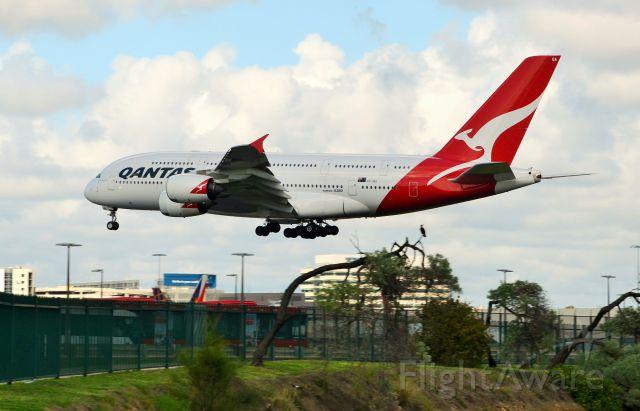 Airbus A380-800 (VH-OQA) - Nancy Bird-Walton on Short final Sydney