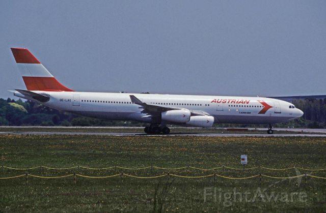 Airbus A340-200 (OE-LAG) - Departure at Narita Intl Airport Rwy16R on 1996/05/25