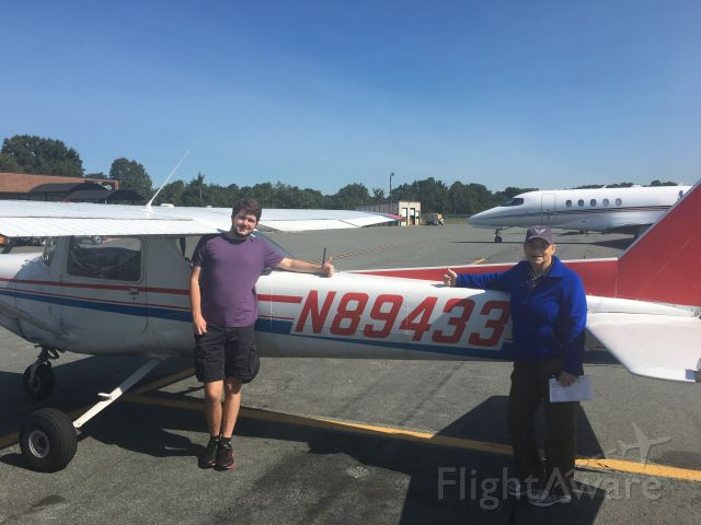 Cessna 152 (N89433) - Me with DPE Zenda Liess after passing my PPL checkride with my airplane, N89433, on October 1, 2020!
