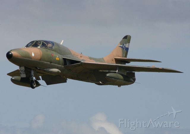 Hawker Hunter (VH-RHO) - Hunter One on late finals for a wheels up landing - 1st November 2005