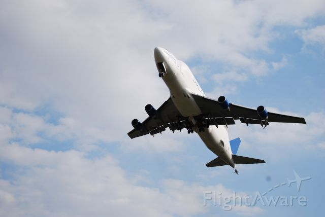 Boeing Dreamlifter (N780BA) - seconds after take-off at the end of runway35 in Grottaglie / Taranto, Italy
