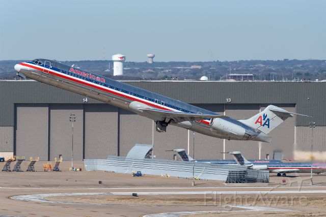 McDonnell Douglas MD-83 (N980TW) - AAL1566 to Oklahoma City departing runway 18L at Dallas/Fort Worth International Airport.