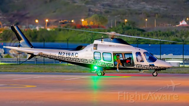 SABCA A-109 (N219AC) - N219AC at the heli pad just after arriving at TNCM St St. Maarten