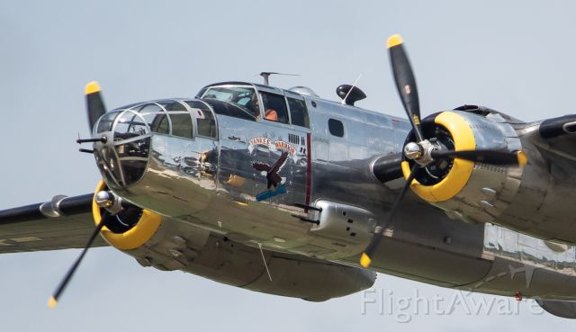 """North American TB-25 Mitchell (N3774) - Yankee Air Museum's B-25D """"Yankee Warrior"""" passing right in front of the crowd at the 2019 Thunder Over Michigan Airshow."""
