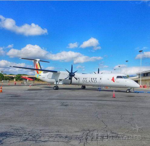 de Havilland Dash 8-400 (N681WP) - Island Air Q400 at Honolulu International after a ferry from Oakland