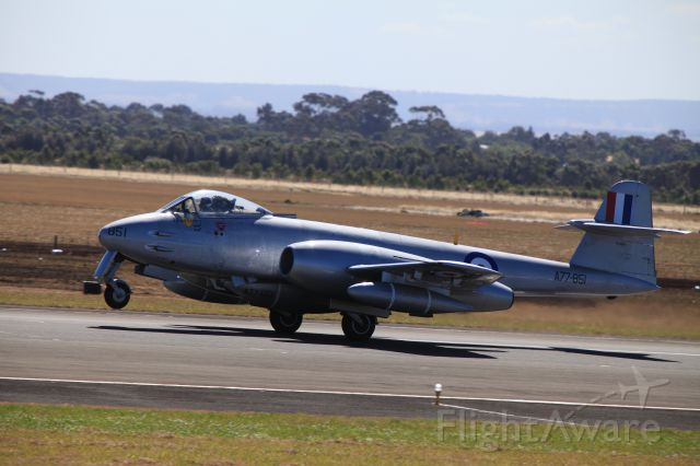 GLOSTER Meteor (VH-MBX) - Ex RAAF Gloster Meteor A77-851 (VH-MBX) Its the only airworthy Meteor F8 in the world.