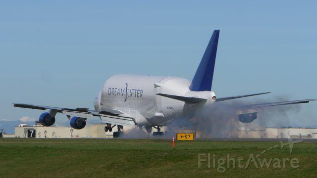 Boeing Dreamlifter (N718BA) - GTI4356 from KCHS makes tire smoke landing on Rwy 34L on 2/23/16. (ln 932 / cn 27042).