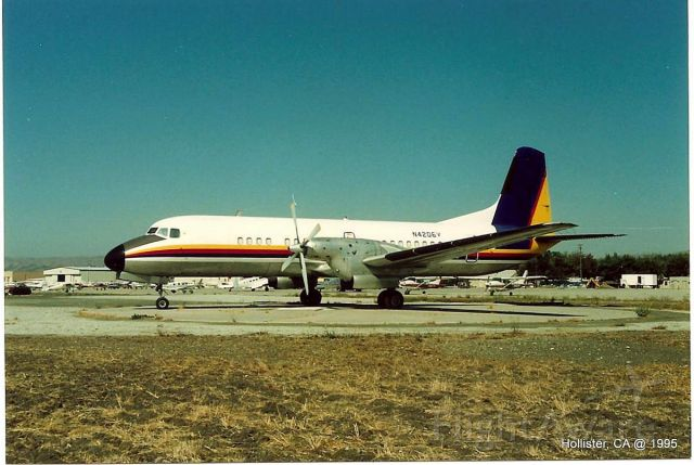 NAMC (1) YS-11 (N4206V) - KCVH - spotted at Hollister,CA in mid 1995. This twin turbo YS-11 was not here for very long.