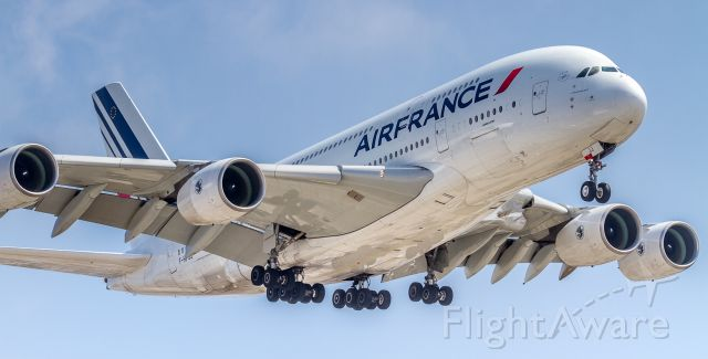 Airbus A380-800 (F-HPJJ) - On short finals for runway 24R at Los Angeles. Taken from the parking lot at the famous In