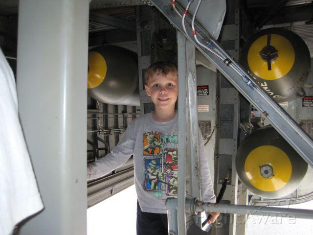— — - Little boy in bomb bay of B-17G