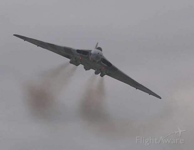 XH558 — - On 27.09.09 the last flying Avro Vulcan XH558 made a flypast of Manchester and Woodford Aerodrome five miles away.  Seen here turning onto a very short final approach to MANchester Airport (EGCC).    XH558 was built at Avros (now BAe Systems) in 1960, at its plant at Woodford near Manchester Airport.