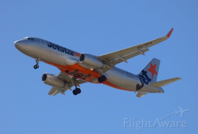 Airbus A320 (VH-VFO) - One of the Sharklet fitted A320s.