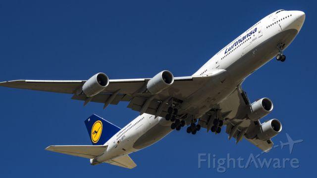 BOEING 747-8 (D-ABYG) - On final for 16R arriving from Frankfurt.<br />5/13/17