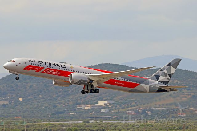 Boeing 787-9 Dreamliner (A6-BLV) - Etihad's specieal F1 livery Dreamliner taking off from runway 21R