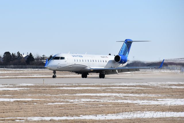 Canadair Regional Jet CRJ-200 (N221PS) - United Express, operated by SkyWest Airlines, first landing at Mason City Municipal Airport March 1, 2021.