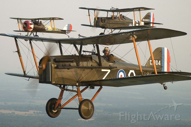 — — - Se-5s and Nieuport 28 in Rickenbacker colors from the Great War Flying Museum, Canada