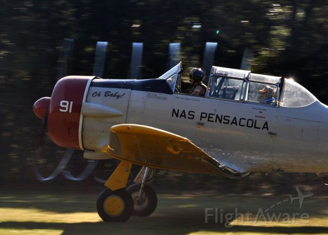 North American T-6 Texan (N991VR) - awesome propeller tip vortice condensation spiral