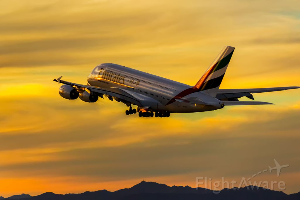 Airbus A380-800 (A6-EEM) - A6-EEM climbing out over the Pacific Ocean into a spectacular Southern California Sunset.
