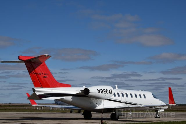 Learjet 45 (N820AT) - Learjet 45XR on the apron at Yorkton on crisp fall day.