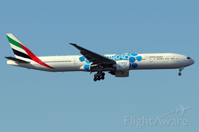 BOEING 777-300 (A6-ECC) - Emirates' 'Expo 2020 Mobility' livery arriving from Dubai