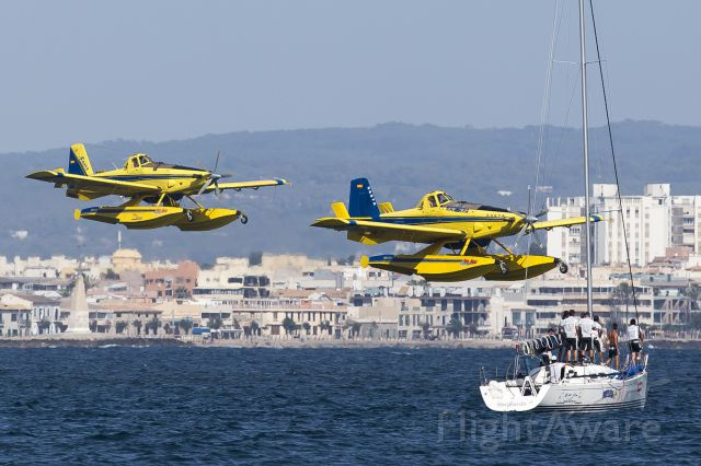 — — - About to pick up water in Palma Bay to douse huge 2000 acre forest fire on west side of Mallorca near Spain in Med