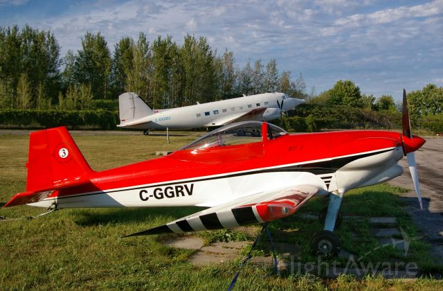 Vans RV-3 (C-GGRV) - The RV-3 with the DC-3 in the background