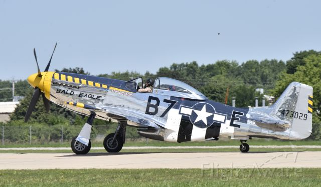 North American P-51 Mustang (N51JB) - Rolling out on landing at Airventure 2017.