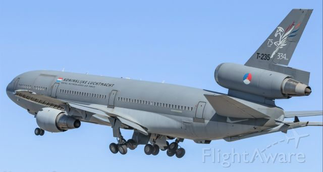 T235 — - KONINKLIJKE LUCHTMACHT Royal Netherlands Air Force KDC-10 T-235 seen departing St Maarten after a short visit to the island and dropping off some reinforcements of law enforcement in the fight against Convid-19. 27/04/2020