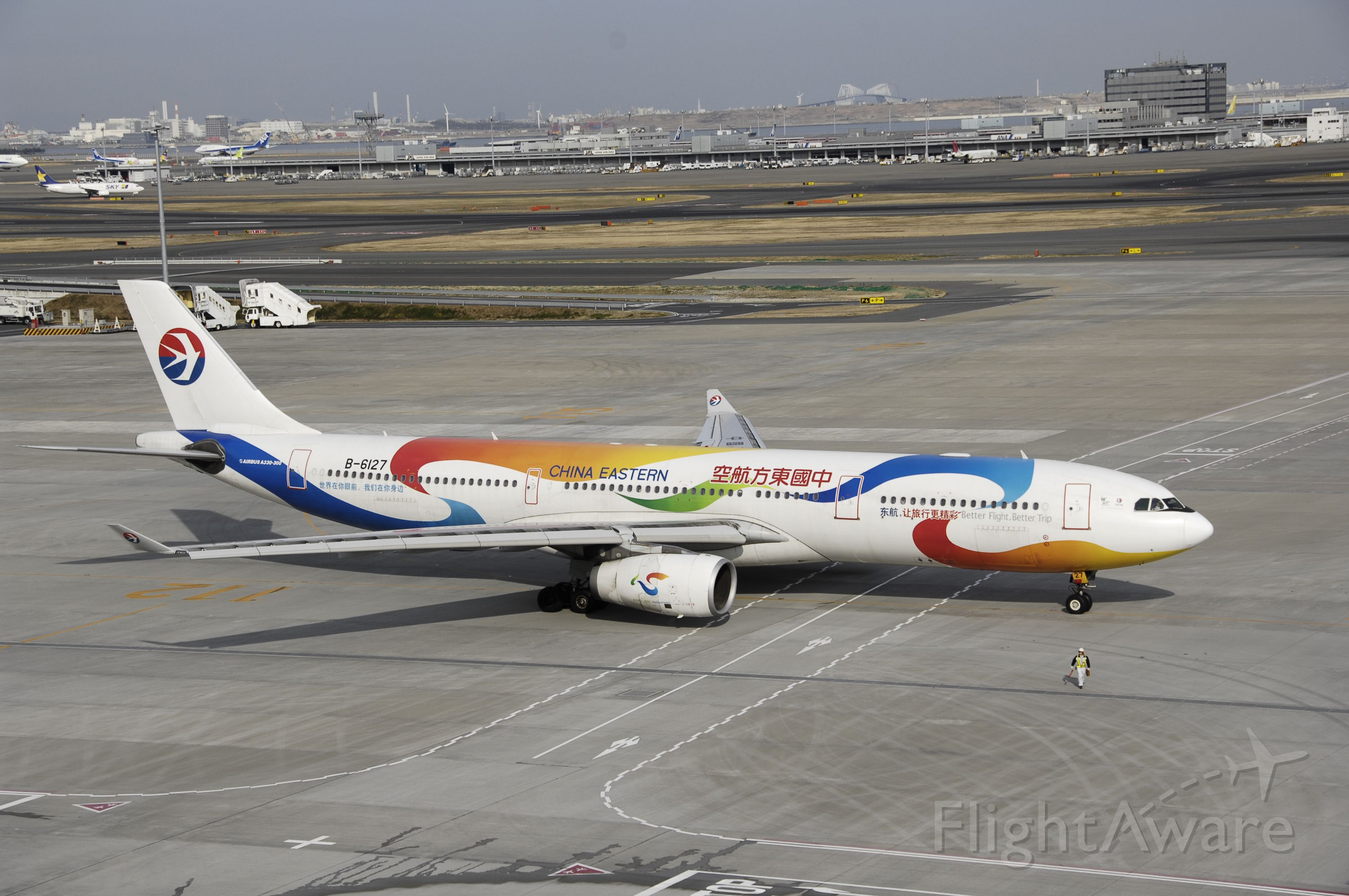 """Airbus A330-300 (B-6127) - Taxi at Haneda Intl Airport on 2012/01/10 """" Expo 2010 c/s"""""""