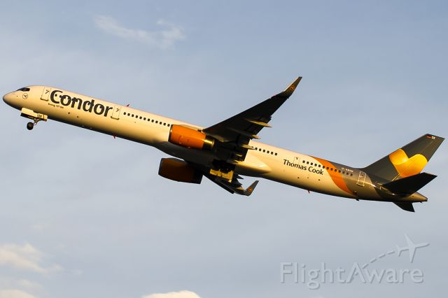 BOEING 757-300 (D-ABOK) - yello morning sun rwy 18