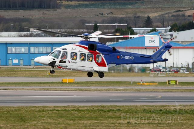 AgustaWestland AW189 (G-OENC) - G-OENC hovering before departure from Aberdeen on 12th March 2020.
