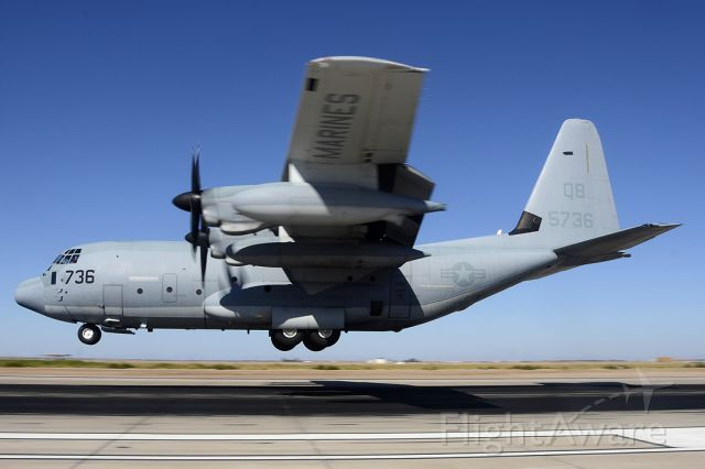 Lockheed C-130 Hercules (16-5736) - Lockheed-Martin KC-130J Hercules BuNo 165736 of VMGR-352 Raiders landing at NAF el Centro.
