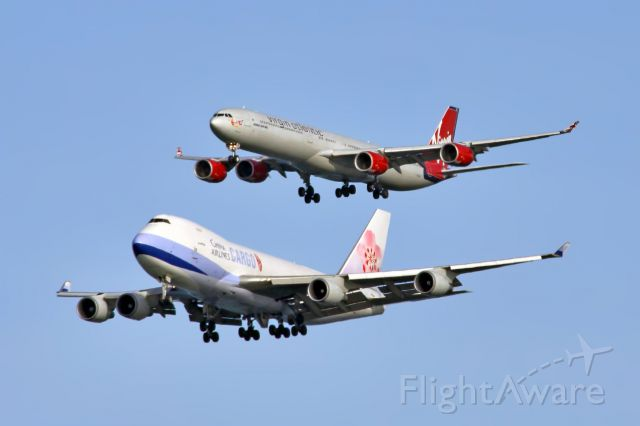 Boeing 747-400 (B-18720) - B-18720 China Airlines 747 & G-VOGE Virgin Atlantic A340 on final to KSFO.