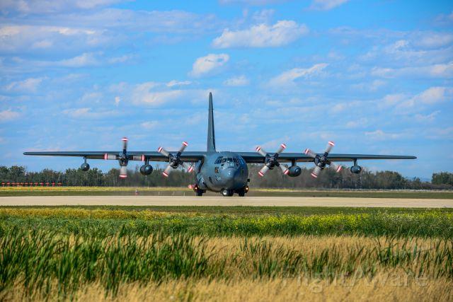 Lockheed C-130 Hercules (13-0341) - Lockheed C-130 Hercules departing runway 7/25 in YQU Grande Prairie, AB