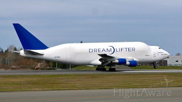 Boeing Dreamlifter (N718BA) - GTI4136 from NGO / RJGG lands on Rwy 34L on 3.25.19. (B747-4H6(BLCF) / ln 932 / cn 27042).