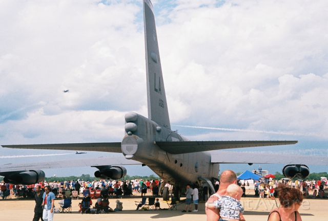 Boeing B-52 Stratofortress (60-0061) - Tail end view of USAF Boeing B-52H, Ser. 60-0061, Barksdale AFB, showing at the Barksdale AFB airshow in May 2005. Navy Blue Angels precision team F/A-18A/B Hornet aircraft performing.