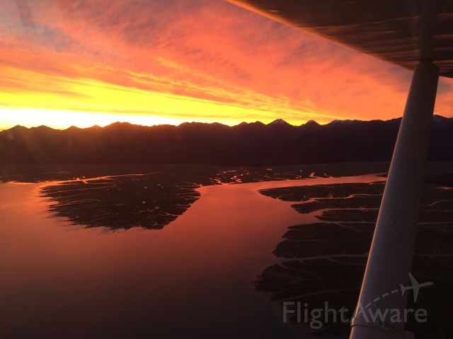 Piper PA-20 Pacer (N5741D) - On my way to work in Anchorage, AK.  Sunrise over Chickaloon Flats & Turnagain Arm.