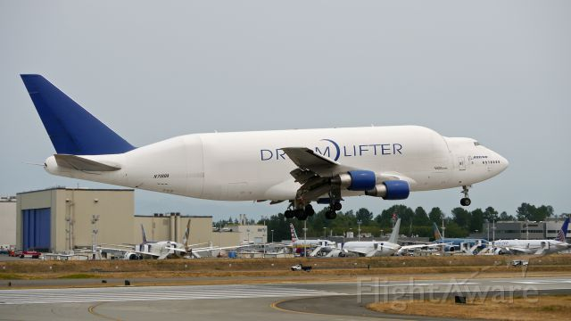 Boeing Dreamlifter (N718BA) - GTI4151 from RJGG / NGO on final to Rwy 16R on 7/7/15. (ln 932 / cn 27042).