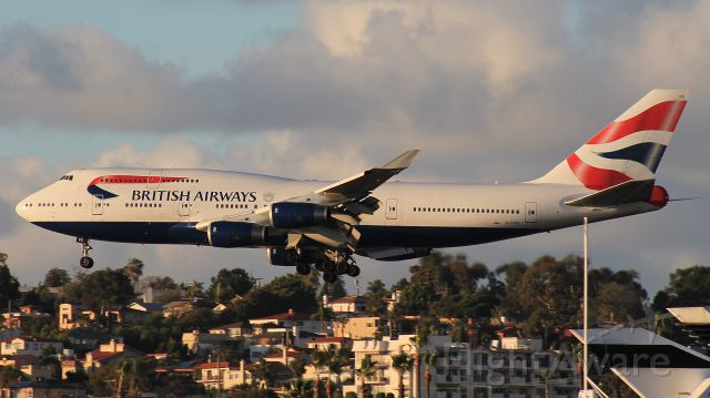 Boeing 747-400 (G-CIVG) - Landing at San Diego in the evening of 16 March 2018.