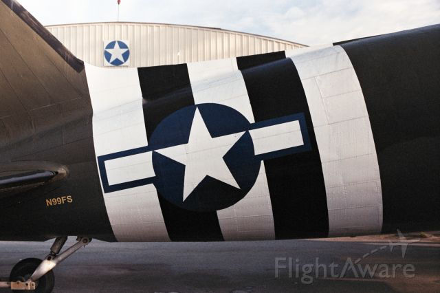 N99FS — - 5-Year Old 35mm photo of Don Brooks C-47 when in Douglas, GA. Shortly after it received it's invasion strips again.