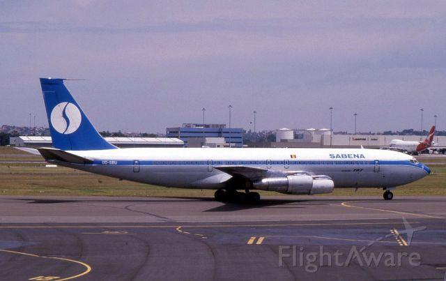 Boeing 707-100 (OO-SBU) - Boeing 707-373C OO-SBU at Sydney in November 1987 whilst on lease from Sobelair.