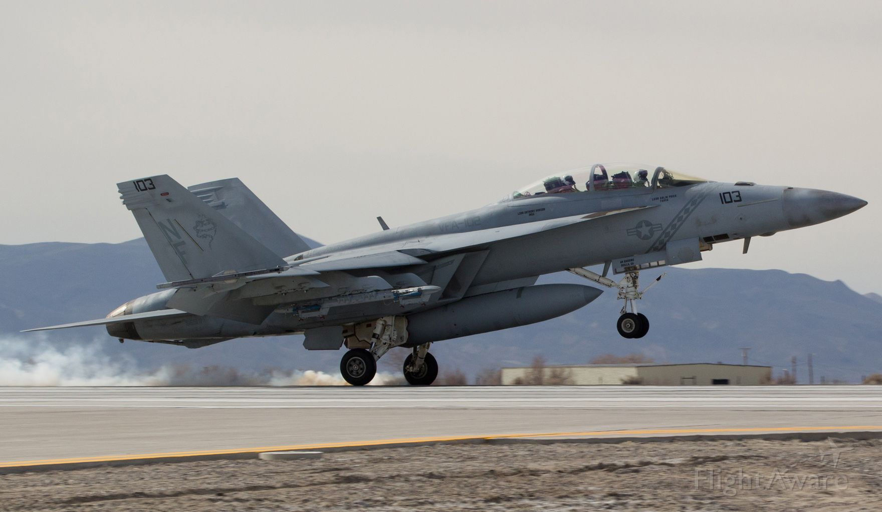 16-6918 — - An F/A-18F Super Hornet assigned to the Strike Fighter Sqdn 102 (VFA-102) Diamondbacks at NAF Atsugi touches down at NAS Fallon.