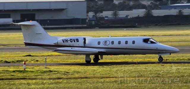 Learjet 35 (VH-OVB) - First picture of 1981 Lear -OVB in the FlightAware database. Seen taxiing out for departure to Sydney. This image was extracted from a video.